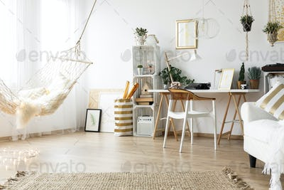 Scandi room with vintage furniture