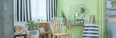 Wooden and green decor