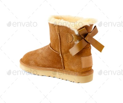 Ugg With Fur, Isolated on White
