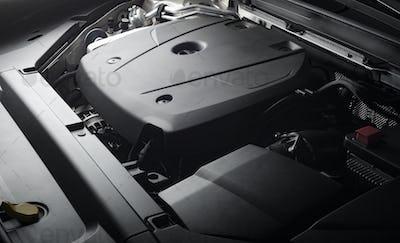 Car engine close-up details