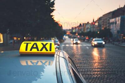 Taxi car on the city street