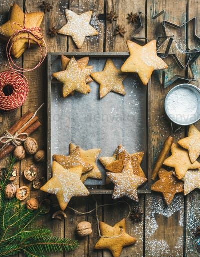 Christmas background with wooden tray in center, copy space