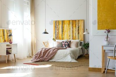Spacious warm bedroom