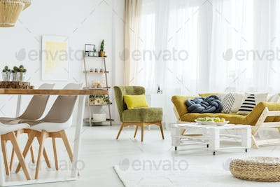 Wooden furniture in a room