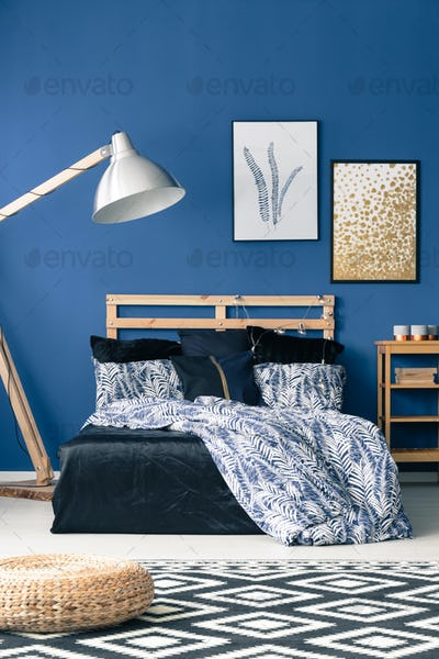 Bed with wooden bedhead