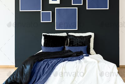 Blue posters above bed