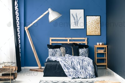 Bedroom in shades of blue