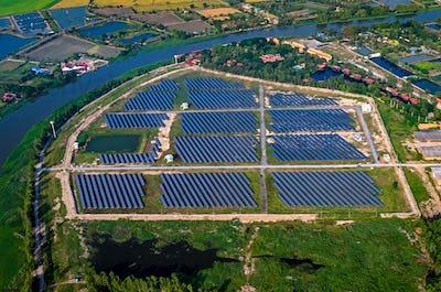 Solar farm, solar panels aerial photography
