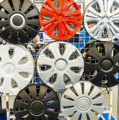 Decorative wheel covers closeup, auto tuning