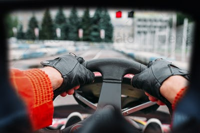 Karting driver, view through the eyes of the racer