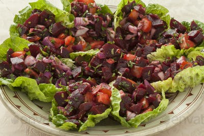 Traditional dish with Moroccan beet salad