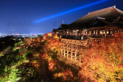 Kiyomizu dera temple ,light up in autumn, Kyoto, Japan