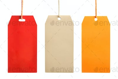 Three paper tags isolated