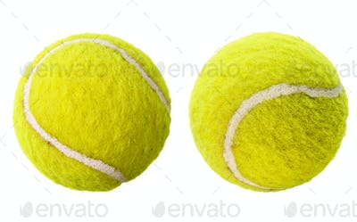 Two tennis balls isolated