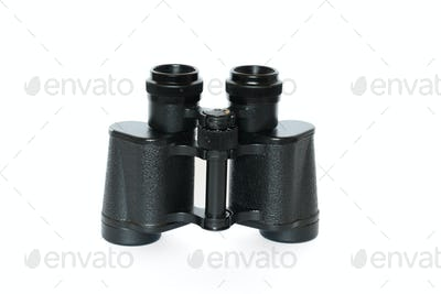 Black binoculars isolated on white background