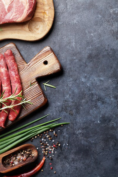 Sausages and meat cooking
