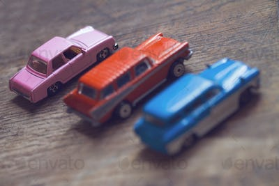 closeup of vintage toy cars