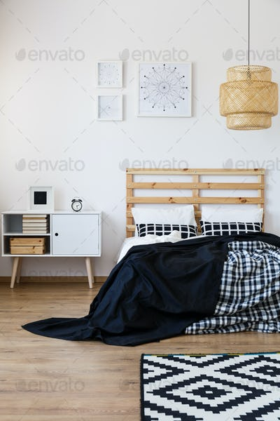 Bedroom with wooden decor