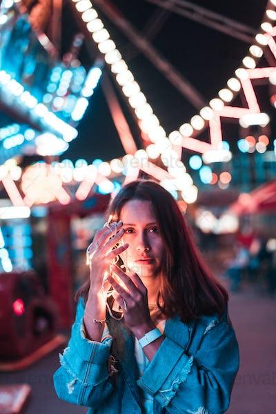 Girl in an amusement park