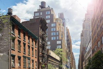Residential neighborhood in Midtown New York, USA.