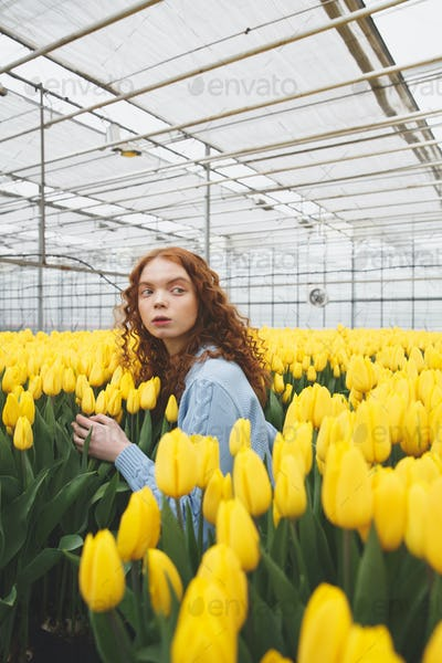 Shot of young girl standing in large greenhouse