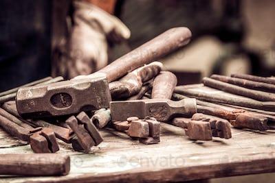 A blacksmith tools