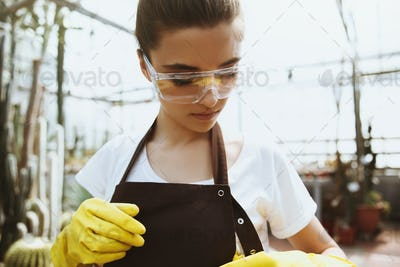 Concentrated young woman in glasses standing in greenhouse