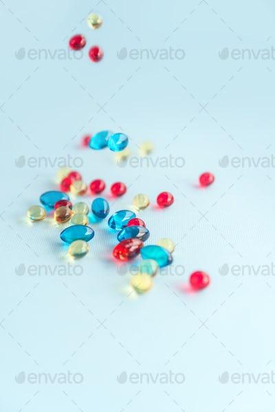 Heap of colorful gel capsules
