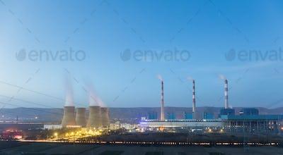 power plant in nightfall