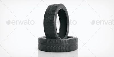 Car tires on white background. 3d illustration