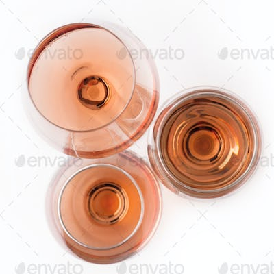 top view of rose wine glasses
