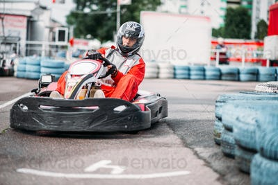Karting racer in action, go kart competition