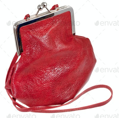 old-fashioned red leather lady's bag