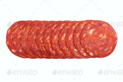 chorizo sausages slices isolated on white