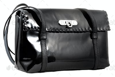 black patent leather woman's bag