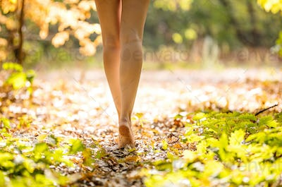 Cropped view of beautiful young woman walking in forest barefoot