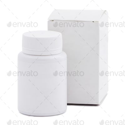 Blank white plastic medicine bottle and blank paper package box