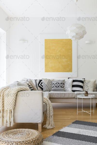 Wool blanket on sofa