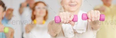Senior woman training