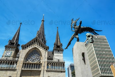 Cathedral and Bolivar Condor Statue