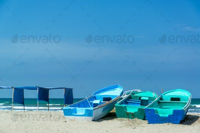 Blue Boats on Canoa Beach