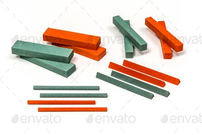 Industrial sharpening stones set  in different shapes and colours
