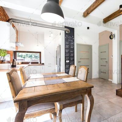 Modern dining room with vintage furnitures