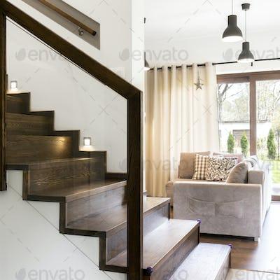 Wooden stairs in elegant houe