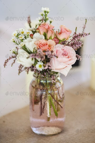 mason jar of roses