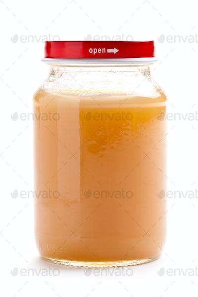 glass jar of baby food