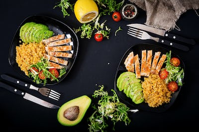Healthy dish with chicken, tomatoes,  avocado, lettuce and lentil