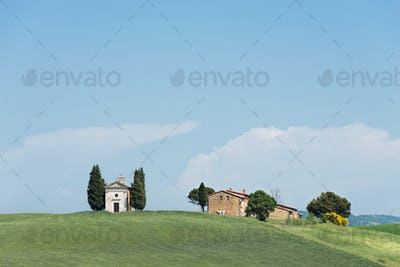 Vitaleta church in a Tuscany landscape