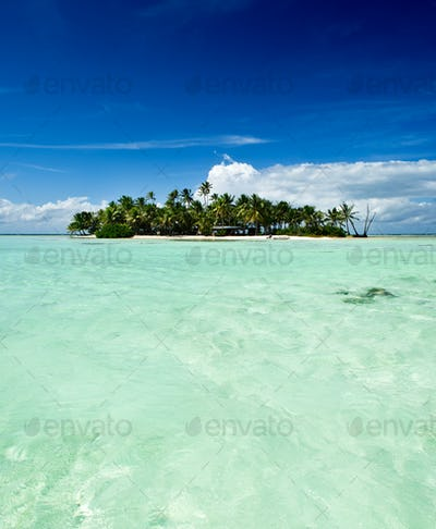 Tropical uninhabited island in the Pacific