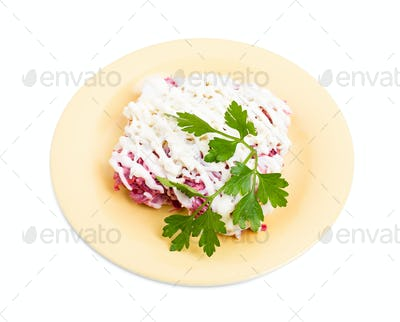 Russian herring salad with mayonnaise.